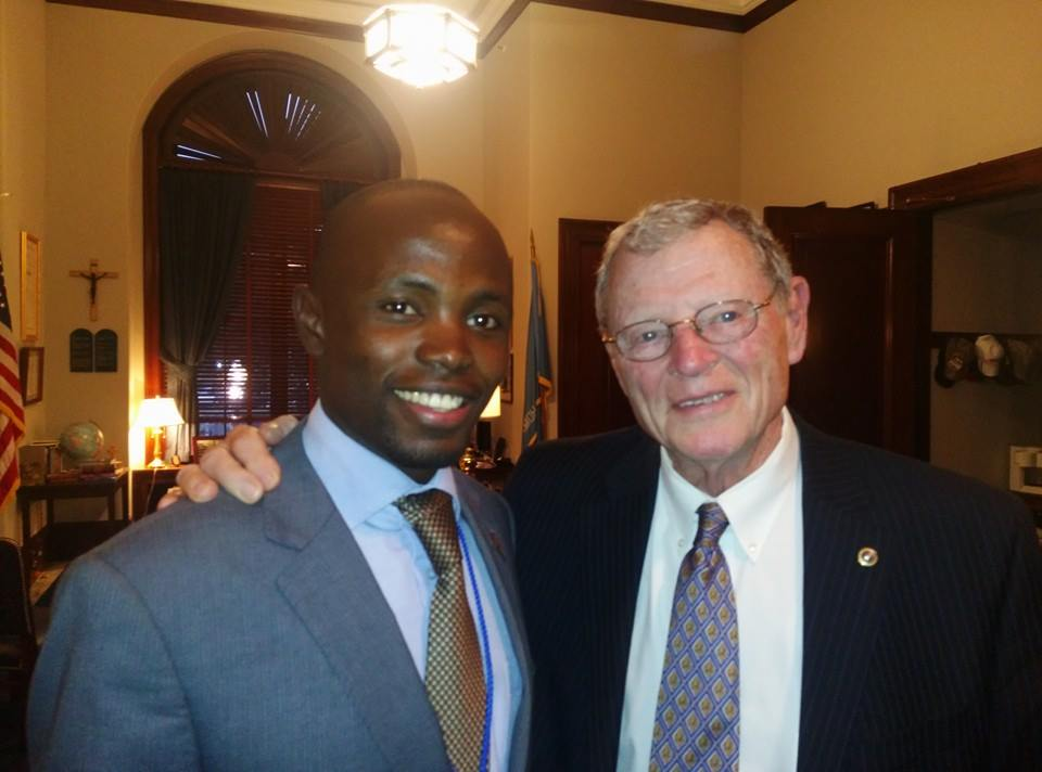 With Senator James Inhofe at his office,  Russel Senate Office Building, Washington DC